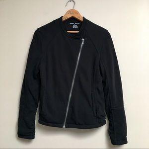 DKNY Jeans black moto sweatshirt jacket